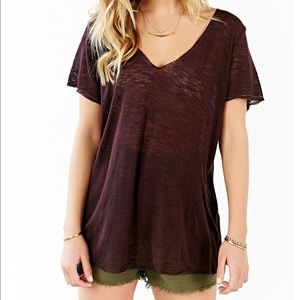 Project Social T maroon v-neck T-shirt